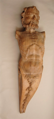 Pareja de Atlantes tallados en roble. Norte de Europa, Finales S