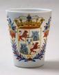 Vaso vidrio blanco esmaltado, Centroeuropa, Carlos III 1759-1788